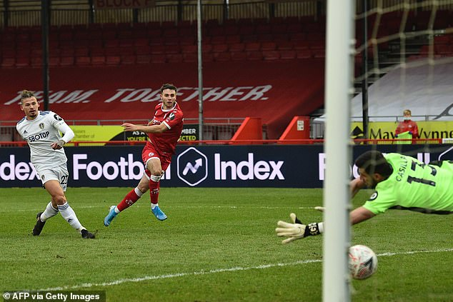 Nick Tsaroulla scored the first of Crawley's three goals in their shock victory over Bielsa's side