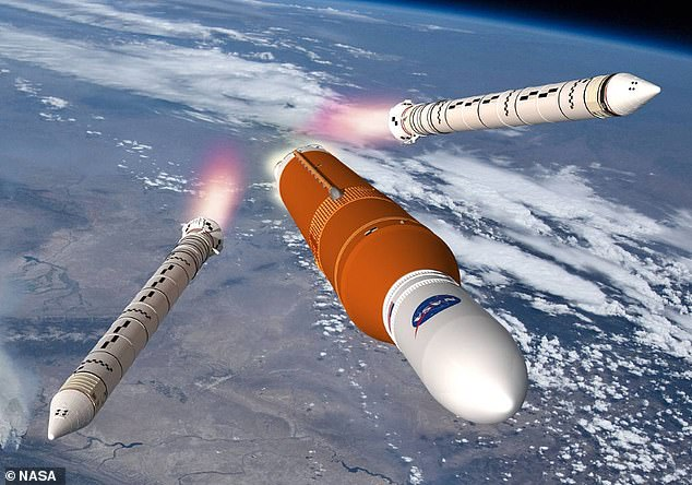 The hot fire test will demonstrate that the engines, tanks, fuel lines, valves, pressurisation system and software perform together as needed for launch day. Artist impression of SLS