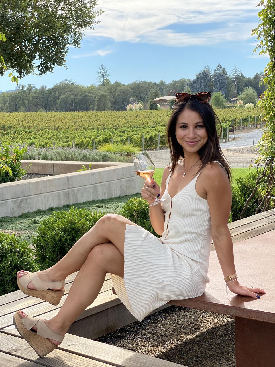 Wine tasting at Bricoleur Vineyards.