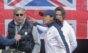 Great Britain's head coach, Anne Keothavong, gestures towards Romania's Ilie Nastase during the FedCup match in Constanta in April 2017