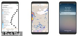 The Dark Sky app provides users with hour-by-hour temperature readings, visualizations of weather activity and smartphone alerts