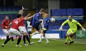 Chelsea's Timo Werner, centre, scores his side's second goal.