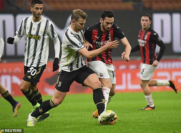 The defender (second left) played the whole of Juventus' 3-1 win over AC Milan on Wednesday
