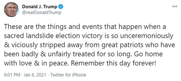 In a shocking tweet, Donald Trump sent mixed messaged Wednesday regarding the anarchy in Washington, saying 'Remember this day forever!' and calling the rioters 'great patriots'