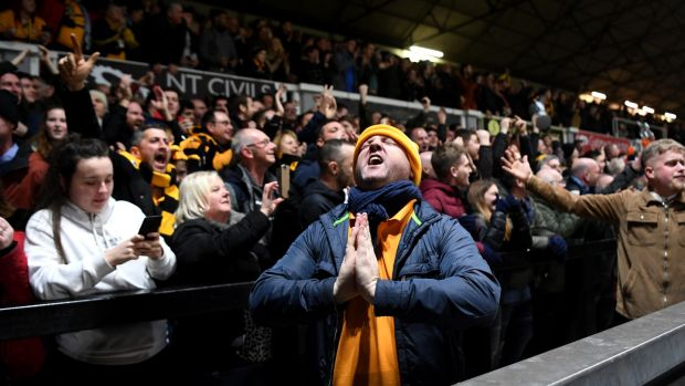 Newport County fans at a packed Rodney Parade for their fifth round clash with Manchester City in 2019. Photograph: Michael Regan/Getty