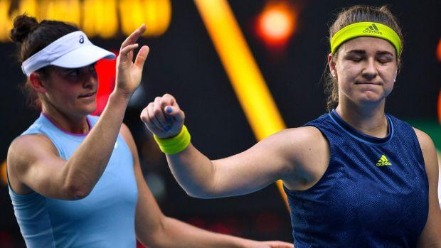 Karolina Muchova waves beside Jennifer Brady after her semi-final defeat. Photograph: Paul Crock/Getty/AFP