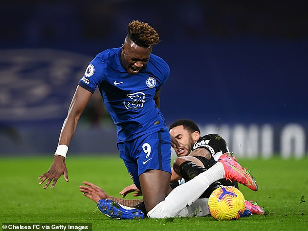 Chelsea striker Tammy Abraham was injured in a challenge by defender Jamaal Lascelles
