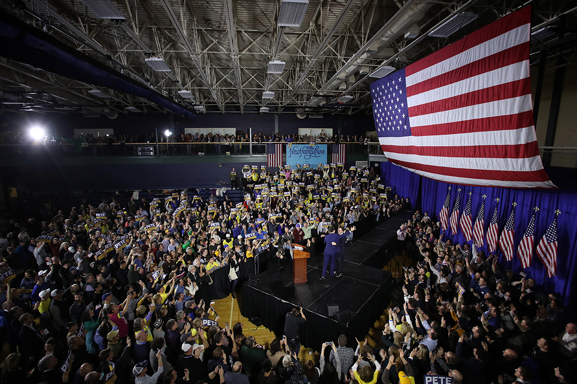 Then-Presidential candidate Pete Buttigieg in New Hampshire.