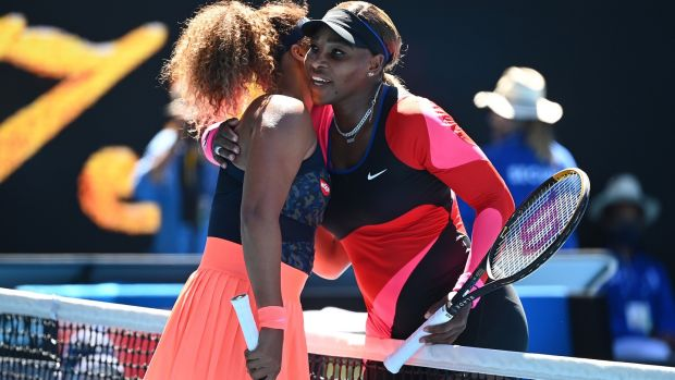 Serena Williams congratulates Naomi Osaka after her victory in Melbourne. Photograph: Dave Hunt/EPA