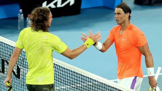 Rafael Nadal congratulates Stefanos Tsitsipas after his victory in Melbourne. Photograph: Brandon Malone/Getty/AFP