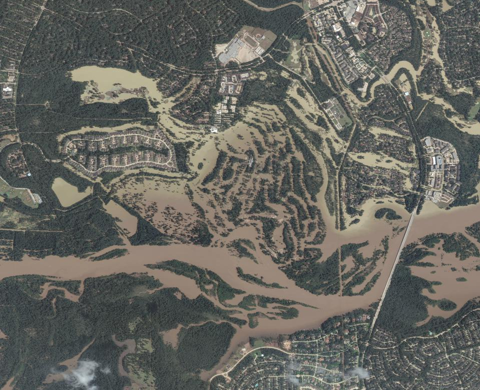 KINGWOOD, TEXAS -- AUGUST 31, 2017:  Maxar satellite imagery of Kingwood, Texas after getting hit by Hurricane Harvey.