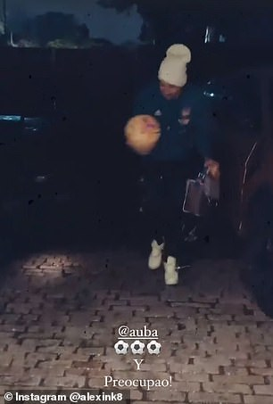 The Arsenal skipper shows off his fancy footwork while in the driveway