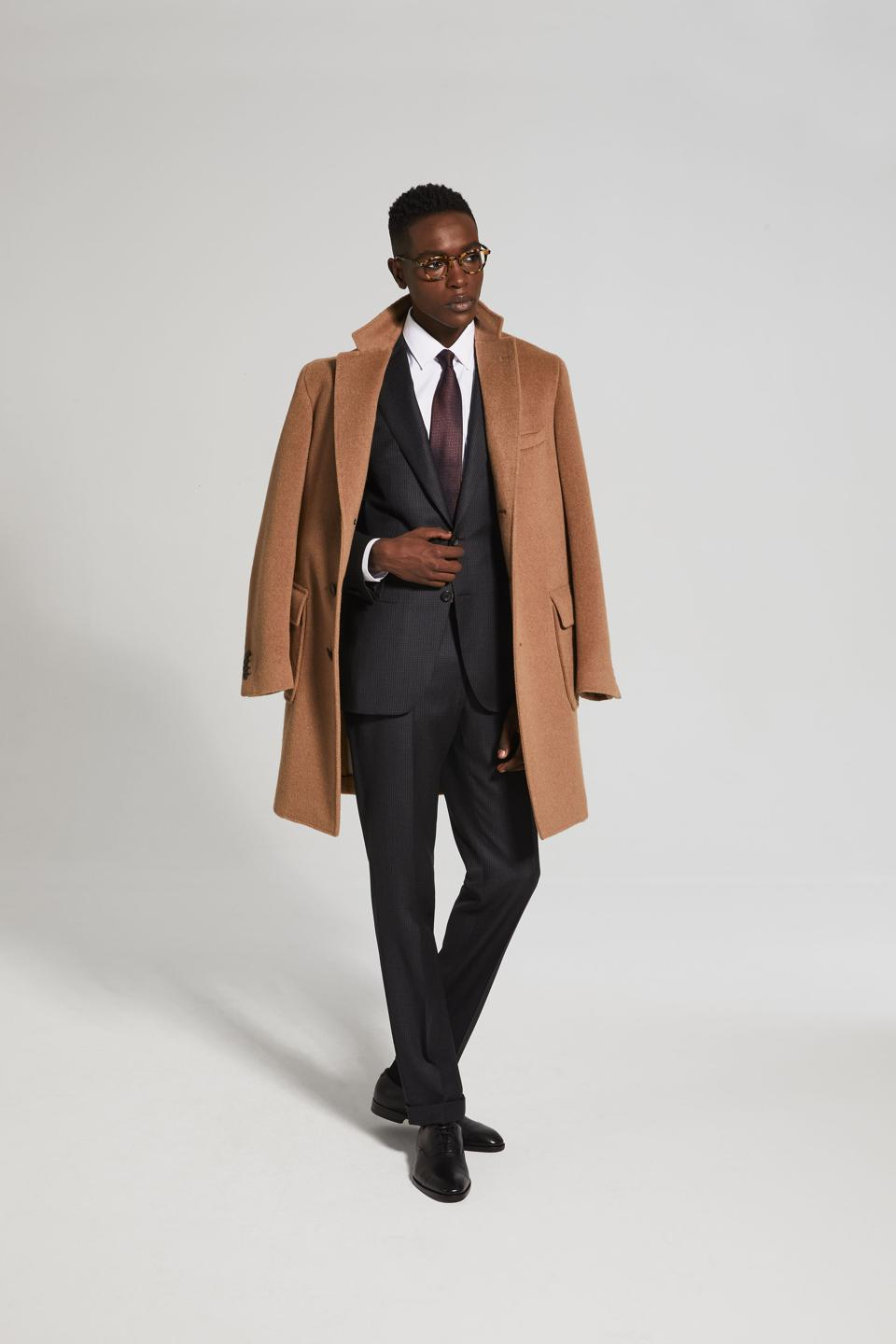 Anthracite And Burgundy 'Impeccabile' Wool Suit, made in Italy