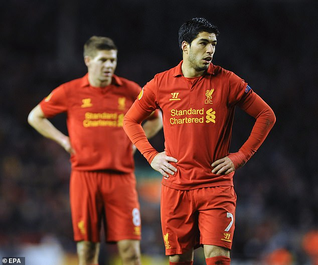 Gerrard (left) also claimed Luis Suarez (right) was another striker who helped him develop