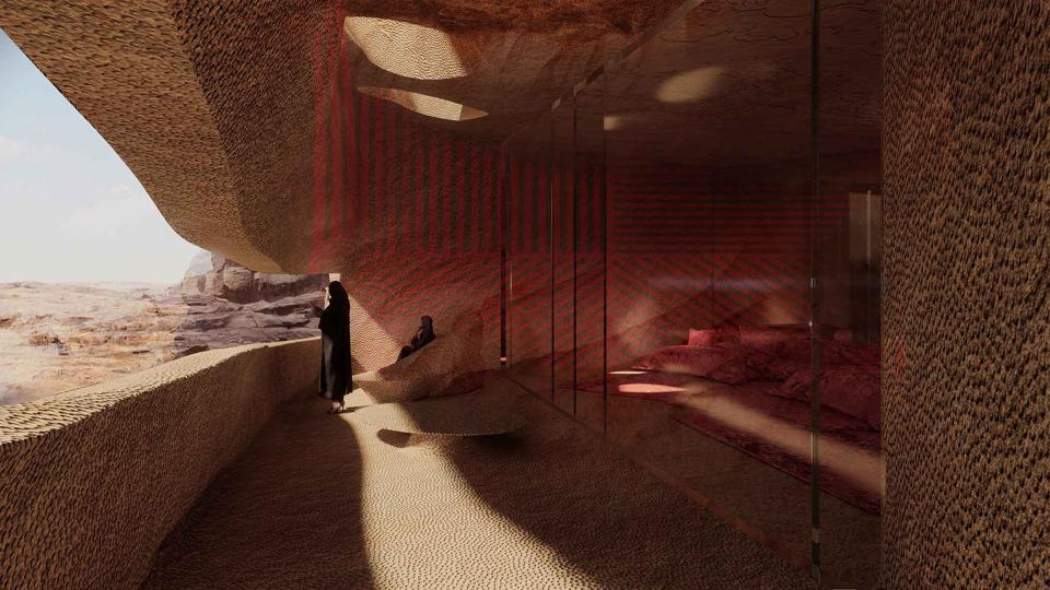 """Design of one of the resort's rooms with terrace: """"Our design principles will guide us as we explore new typologies that reconcile heritage alongside the subtle transformation of the existing architecture."""" Jean Nouvel"""