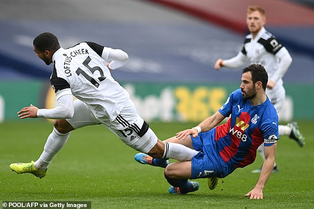 Crystal Palace captain Luka Milivojevic deservedly received a yellow card for this poor tackle