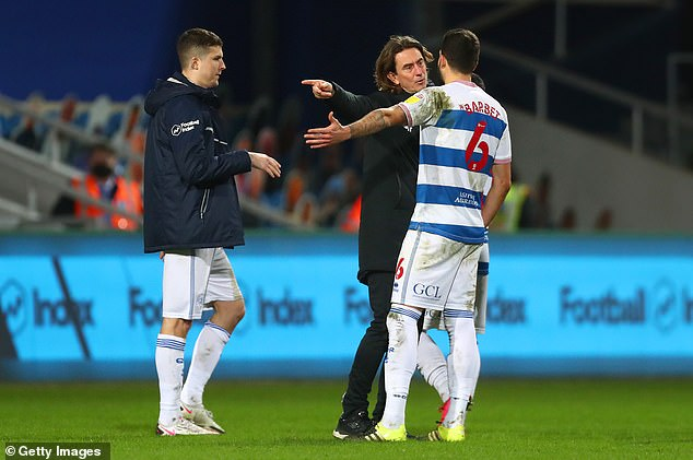 Brentford boss Thomas Frank was seen having words with QPR's Yoann Barbet at full-time