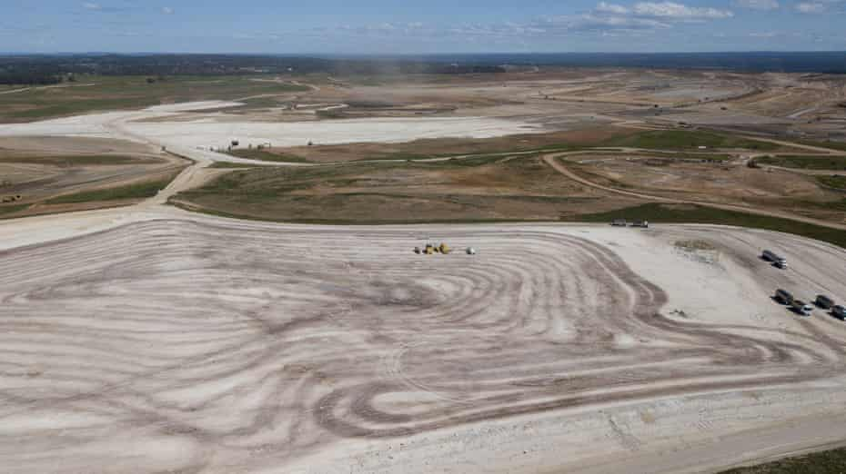 An aerial view of the construction work at the Western Sydney International (Nancy-Bird Walton) Airport Badgerys Creek in Sydney.