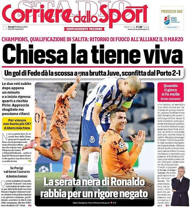 Corriere dello Sport labelled it an 'off-night' for Ronaldo but praised Federico Chiesa's late goal
