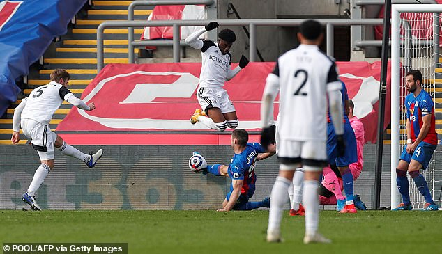 Eagles centre half Gary Cahill made a brave last-ditch block to deny Dane Joachim Andersen