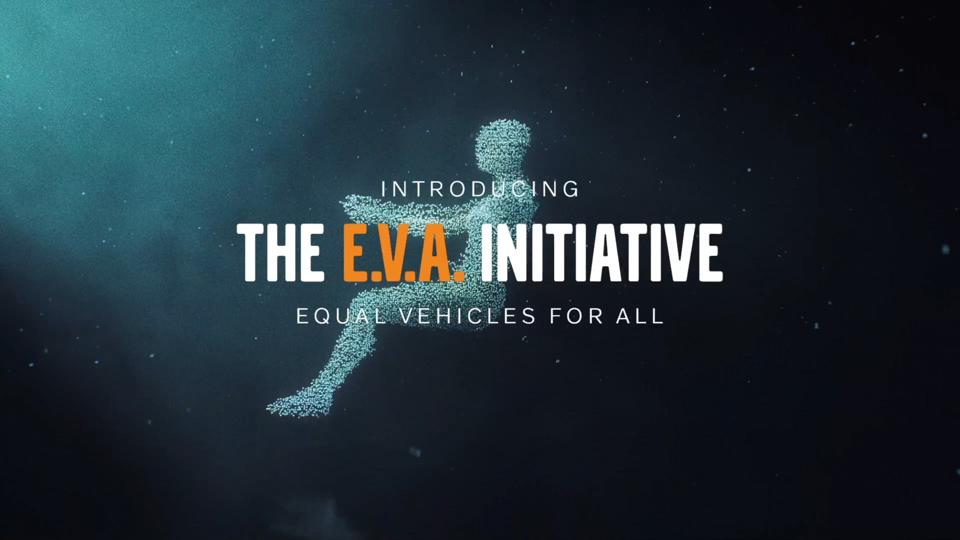 The logo used for the E.V.A. Initiative which shows a genderless driver