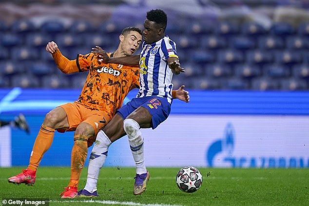 The Portugal captain went to ground under a challenge from Porto defenderZaidu Sanusi
