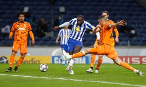 Porto's Moussa Marega scores their second goal.