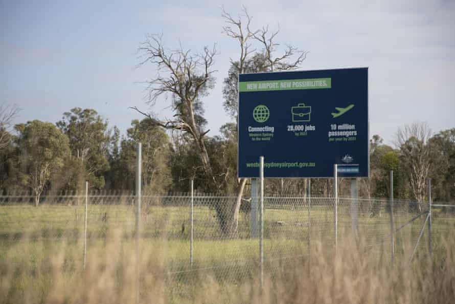 A general view of signage at the Badgerys Creek airport site in Sydney.
