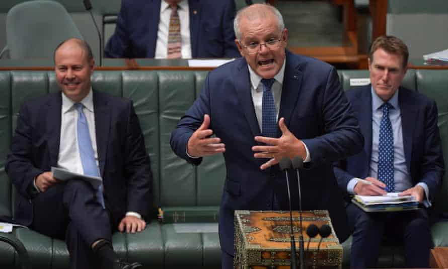 Scott Morrison speaking in parliament Canberra, Australia