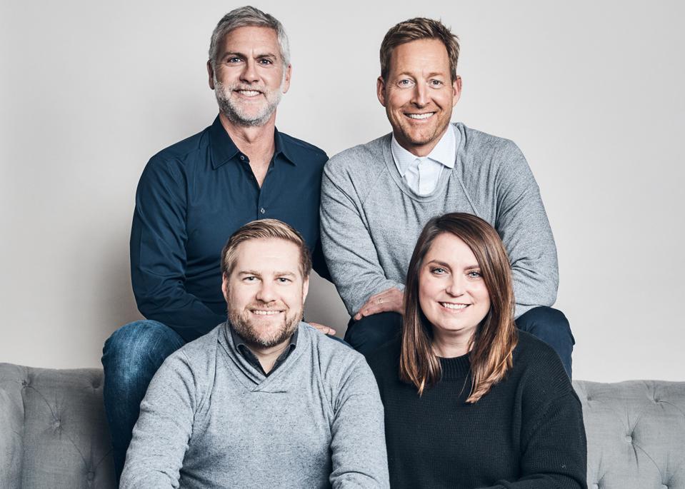 JYBE co-founders Paul Kradin, Steve Bauerfeind, Kevin Diamond and Alison Diamond.