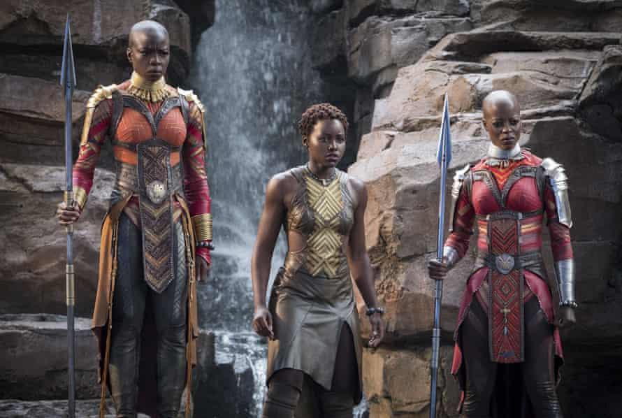 Danai Gurira, Lupita Nyong'o and Florence Kasumba in Black Panther.