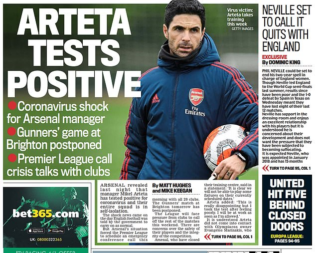 Sportsmail's back page on Friday March 13 after Mikel Arteta tested positive for coronavirus the night before