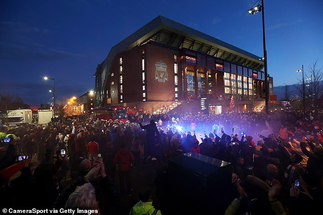 Thousands of fans descended on Anfield on Wednesday March 11