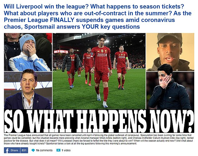 MailOnline Sport's page on March 13, asking what everyone was thinking: 'what happens now?'