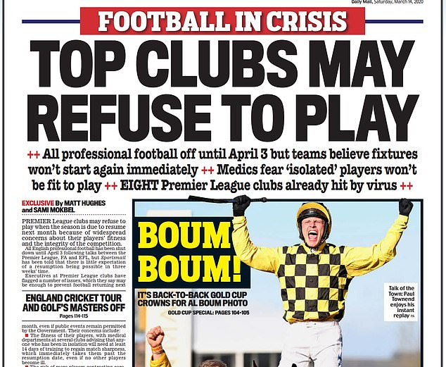 Sportsmail's backpage on Saturday March 14, headlined: 'Top clubs may refuse to play'