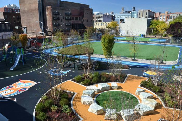 New York City's Schoolyards to Playgrounds programme opens school playgrounds when school is closed so that all spaces are always in use; Paris has a similar scheme