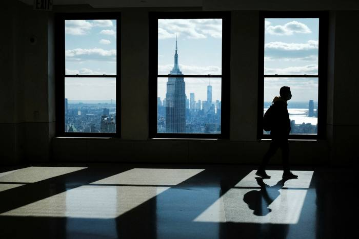 The view from the top of the Rockefeller Center, NYC: property prices should fall as shops and offices become housing