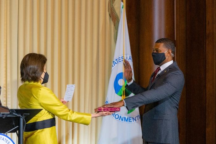 Jane Nishida swears in new EPA Administrator Michael Regan.