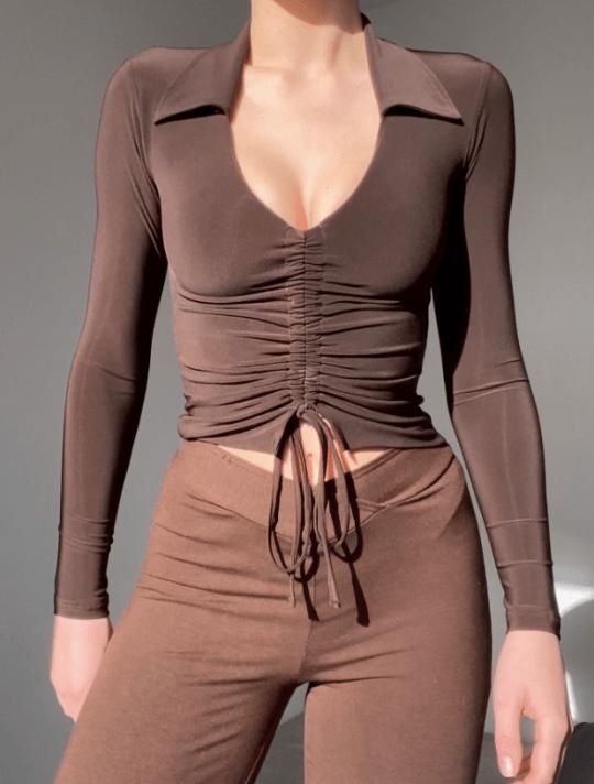 Brown drawstring top