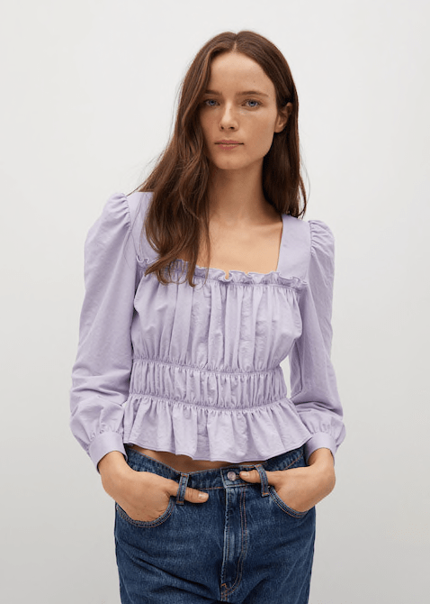 Lilac ruched detail top
