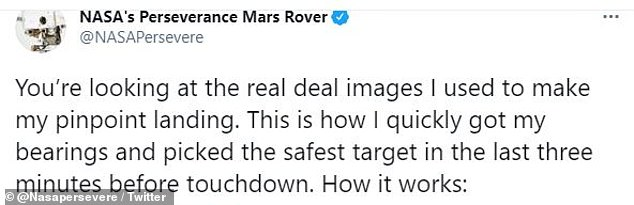 NASA posted the video to Perseverance's Twitter account Thursday