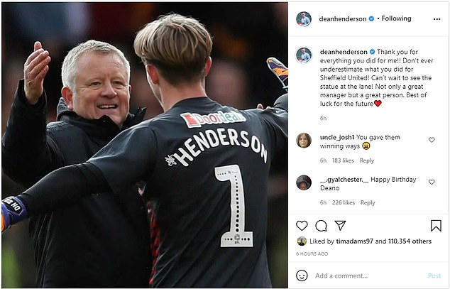 The goalkeeper thanked the manager for all he had done for his career during his loan spell