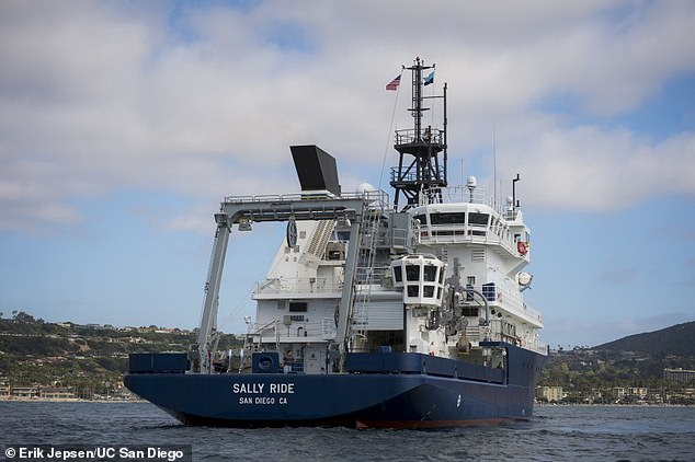 Condensing two years' worth of planning into a few months, researchers with UC San Diego's Scripps Institution of Oceanography set sail Wednesday for a two-week mission aboard the R/V Sally Ride (pictured)