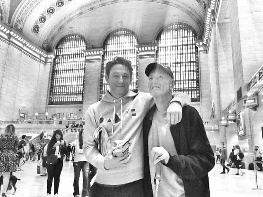 Craig Taylor with his father in Grand Central Station, New York