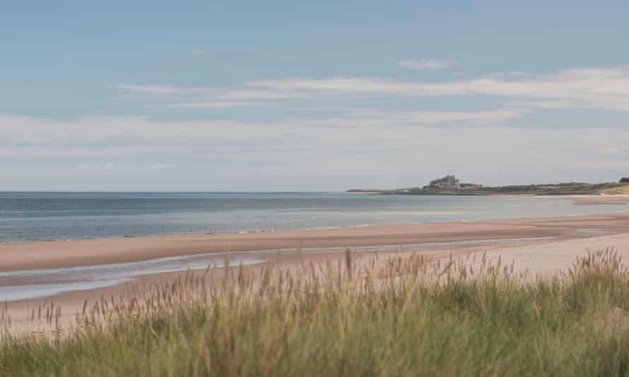 The View from Ross Back Sands looking towards Bamburgh Castle, Northumberland, UK