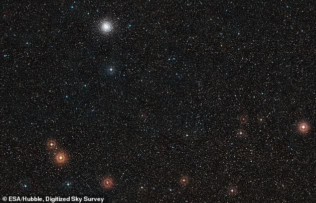 Pictured here is the region around the host star of the exoplanet GJ 1132 b, the star is too small to be visible in this wide field image