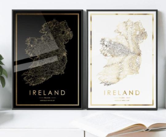 Ireland road map prints