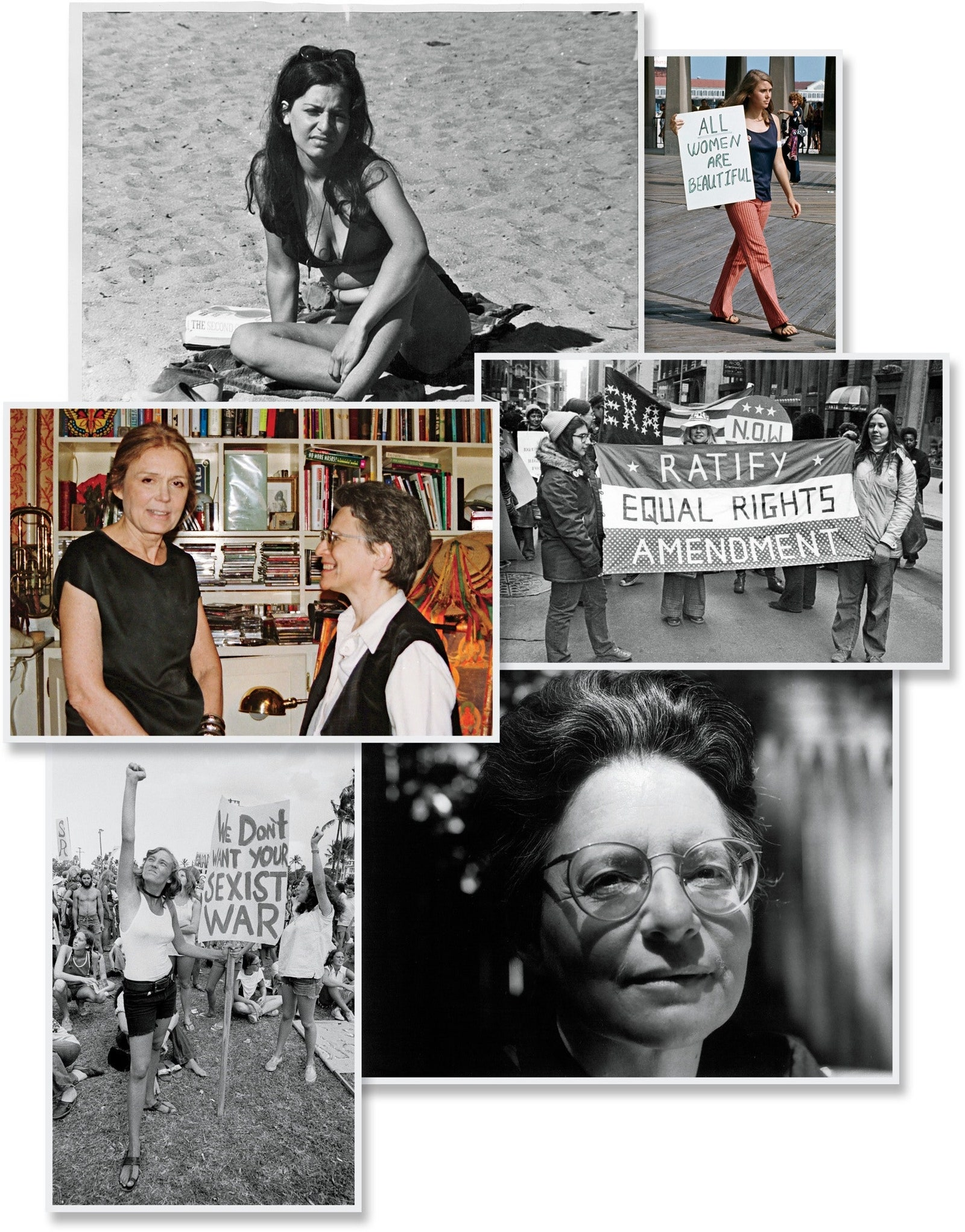 Firestone top left in 1970 at the beach reading The Second Sex center left with Gloria Steinem in 2000 and bottom right...