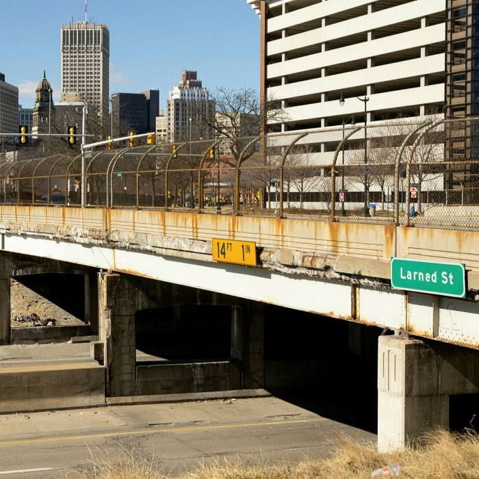 The state of Detroit's Larned St bridge reflects the condition of many of the city's 20th-century structures
