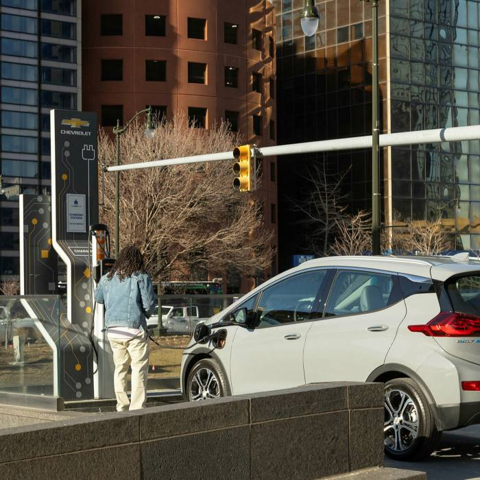A Chevy Bolt EV charging station at General Motors HQ, Michigan. The model is assembled at a factory outside Detroit